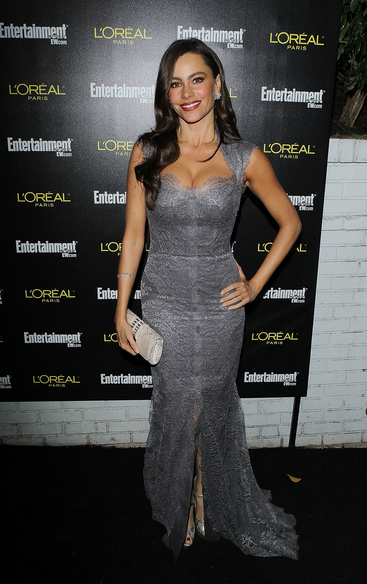 Vergara posed in an icy gray lace-adorned gown, with sweetheart neckline and front-slit details, and silver ankle-strap pumps for an Entertainment Weekly event in January 2011.