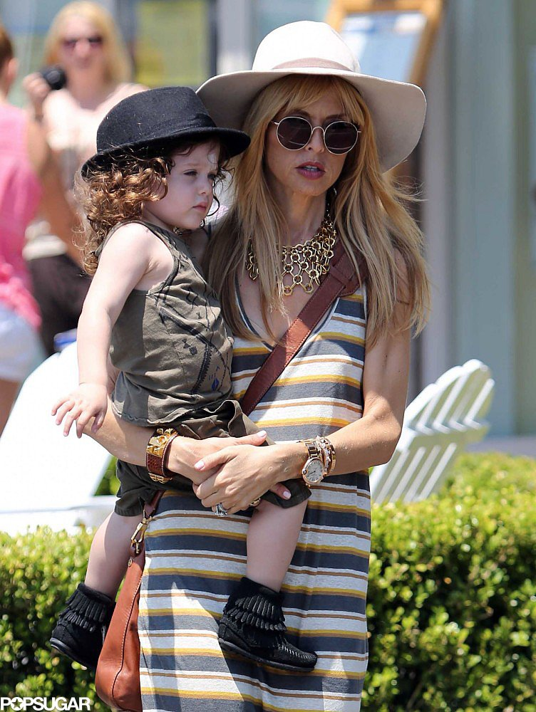Rachel Zoe carried her son, Skyler, in Malibu.