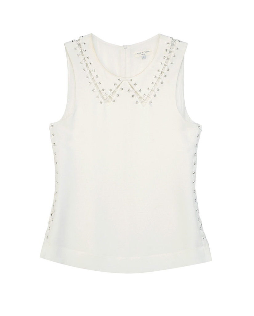 A pretty Peter Pan collar feels tougher up close thanks to the thick laces on this Rag & Bone blouse ($325).