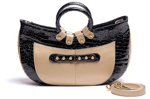 Javani  Ring Handle Tote Croco Ebony with Accent of Pearlized Gold