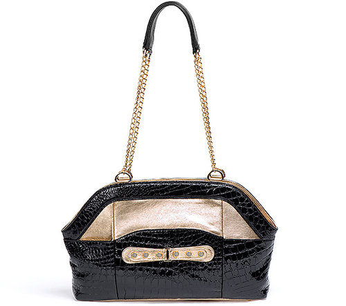 Priscilla Shoulder Chain Purse Croco Ebony with Accent of Metallic Gold Smooth Lambskin