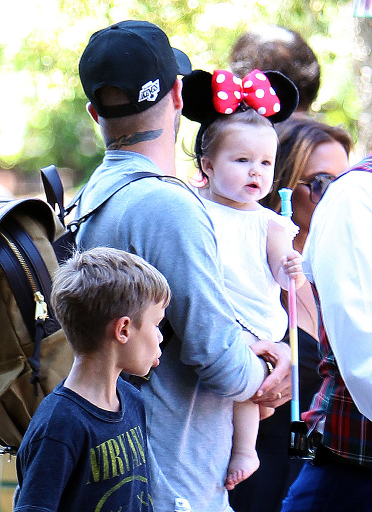 Harper donned Minnie Mouse ears during a family trip to Disneyland in June 2012.