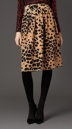 Animal Print Silk Skirt