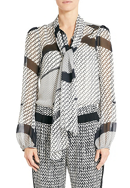A sweet bow-neck blouse is welcome in our closet anytime. DVF's black and white pick ($285) is a must!