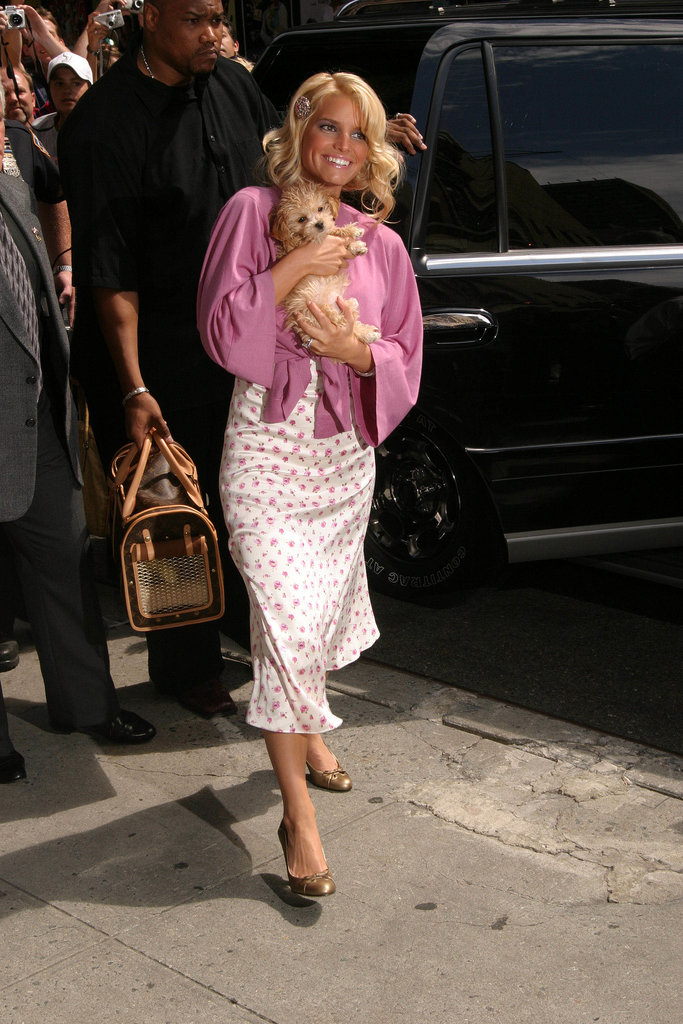 Jessica Simpson cuddled with her puppy Daisy in August 2004.