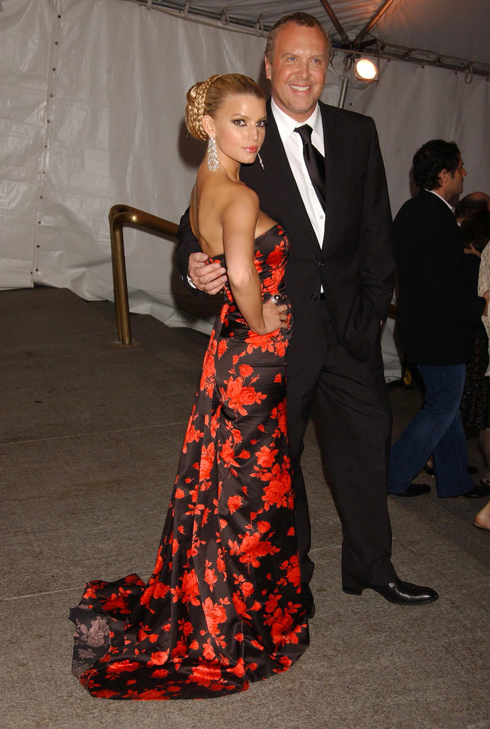 Jessica Simpson modeled a Michael Kors gown and escorted the designer to the Met Gala in May 2005.