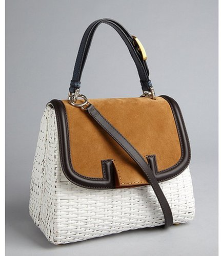 Fendi white lacquered basket woven and tan suede leather trim shoulder bag