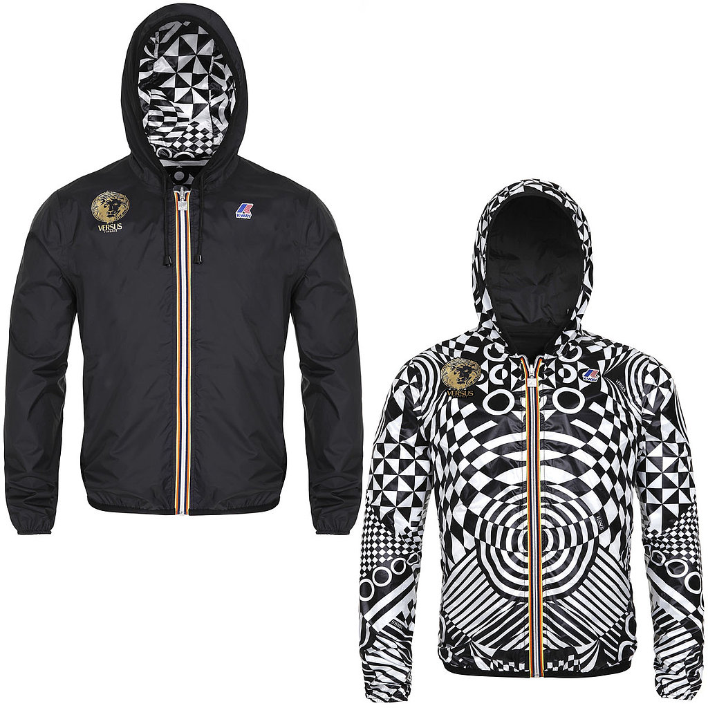 July 10 brought the first glimpse of the highly anticipated K-Way x Versus collaboration. Among the offerings, a reversible windbreaker ($495), with two options: a streamlined solid and a bold black and white print.
