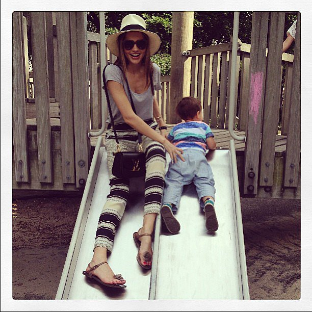 Miranda Kerr spent some time with her son, Flynn Bloom, and shared this adorable snap while playing on a slide. Source: Instagra