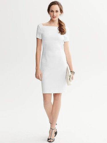 Ponte Knit Square-Neck Sheath