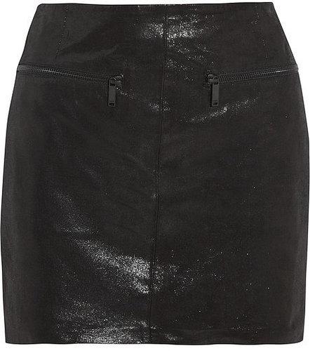 Karl Lagerfeld Delphie coated leather mini skirt