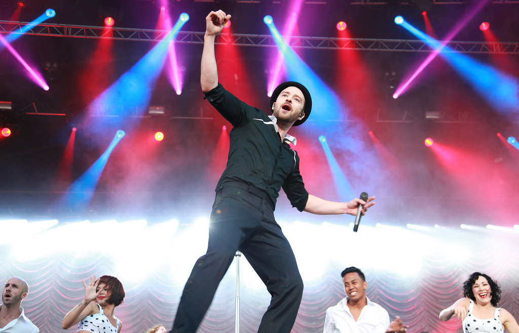 Justin Timberlake hit the stage to perform at Dublin, Ireland's Phoenix Park in July 2013.