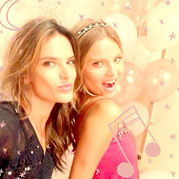 Alessandra Ambrosio and Magdalena Frackowiak posed together at a Victoria's Secret event. Source: Instagram user alessandraambrosio