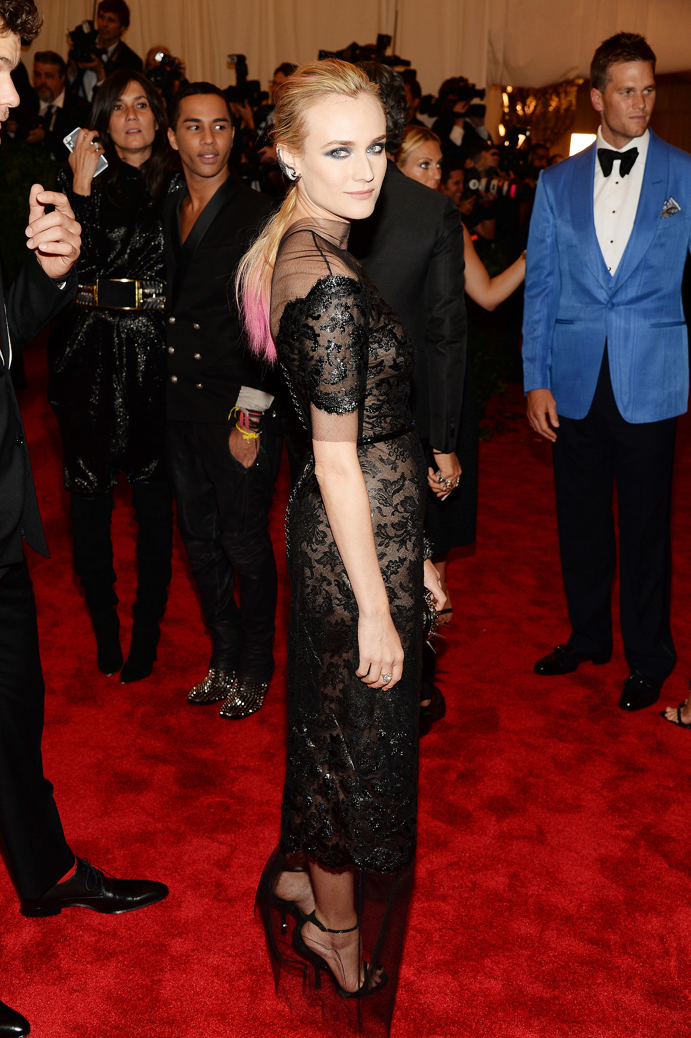 Leave it to Diane to take punk chic to new heights. At the 2013 Met Gala, the blond stunner owned the red carpet in a shimmering sheer-and-lace Chanel confection, dip-dyed pink strands, and a sultry smokey eye.