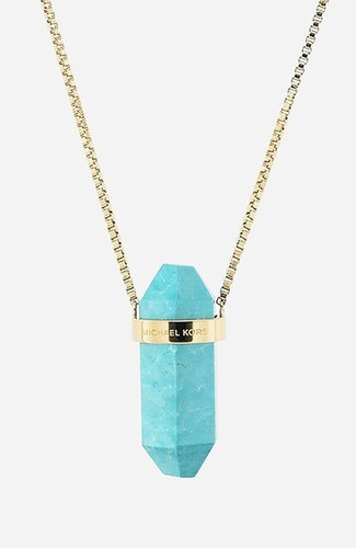 Michael Kors 'Seaside Luxe' Long Stone Pendant Necklace