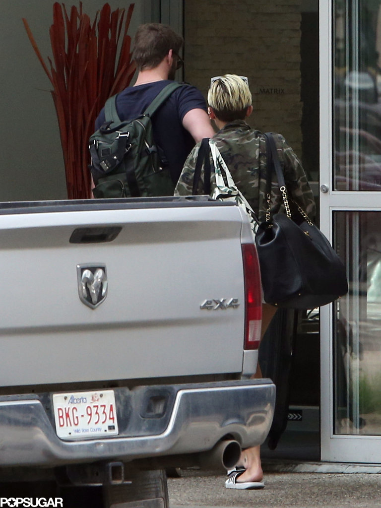 Miley Cyrus and Liam Hemsworth walked to their hotel together.