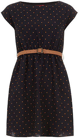 Navy spotty belted dress