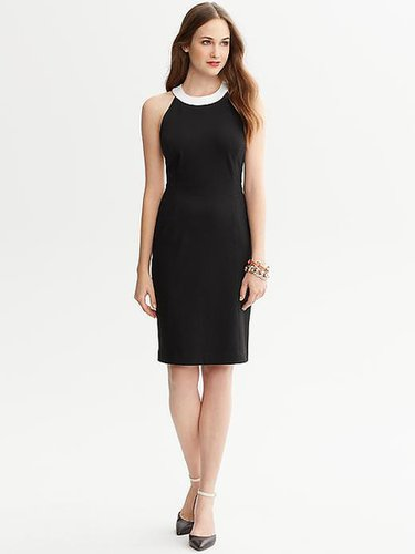 Contrast Ponte Halter Dress