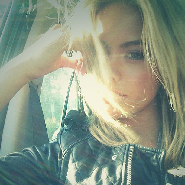 Jesinta Campbell had the wind and sun in her hair as she (and her very cool motorcycle jacket) took a car ride. Source: Instagram user jesinta_campbell