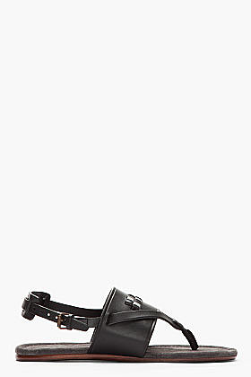 LANVIN Black Leather Stitched Slingback Sandals