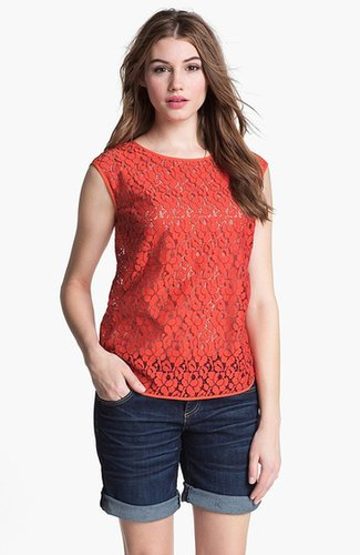 Halogen Cap Sleeve Lace Shell