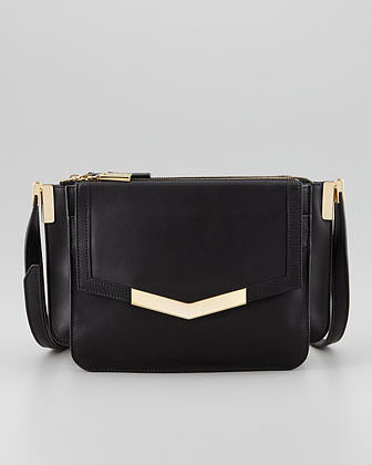 Time's Arrow Mini Trilogy Leather Crossbody Bag, Black