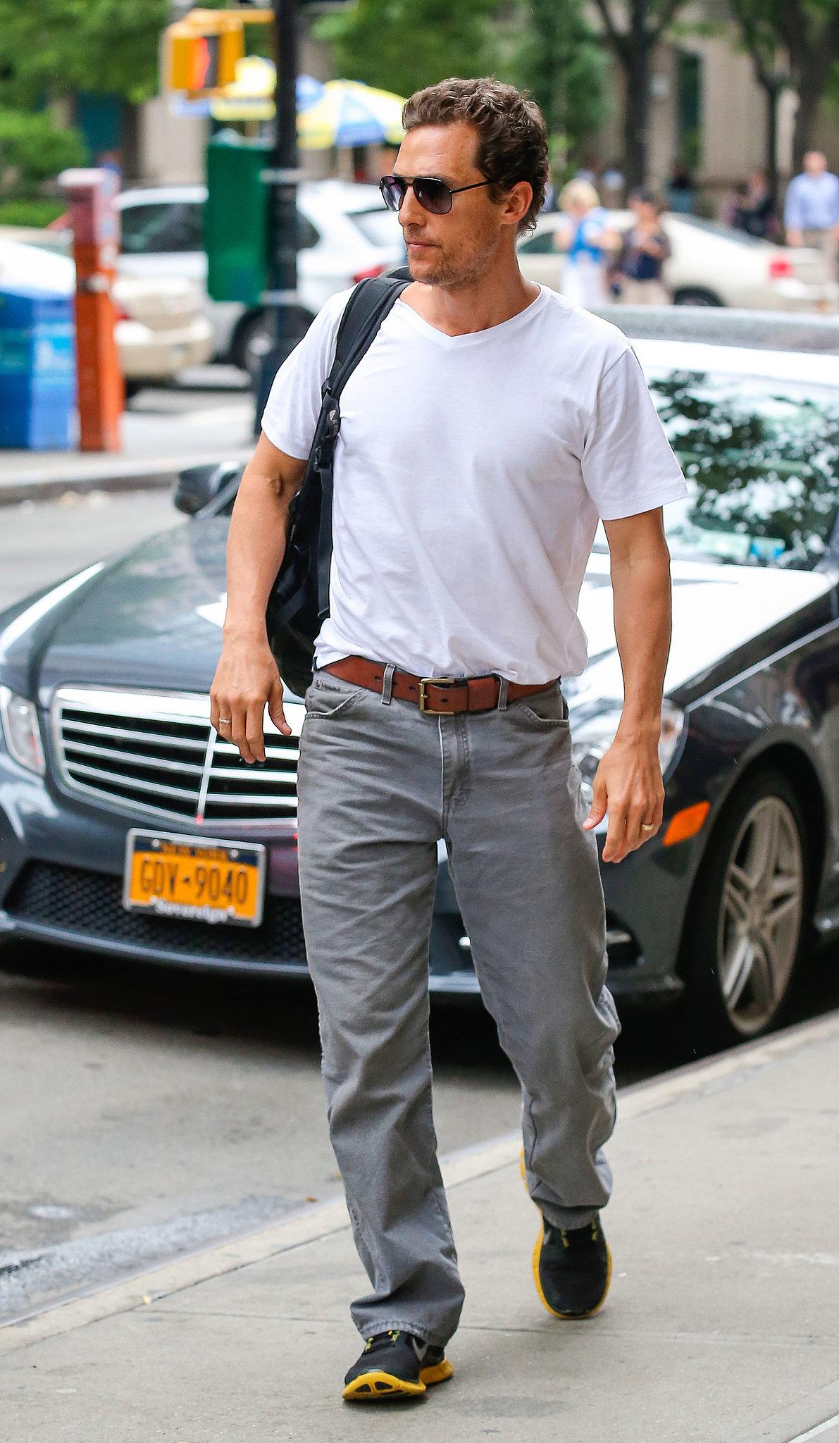 Matthew McConaughey walked to his hotel.