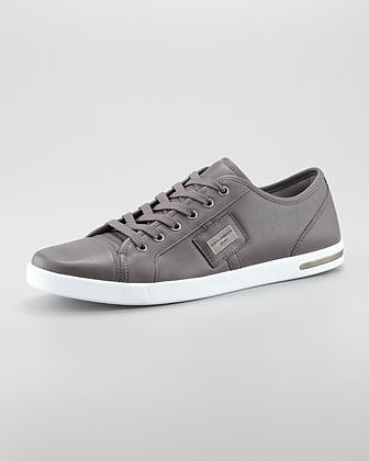 Dolce & Gabbana Metal Logo Sneaker, Gray