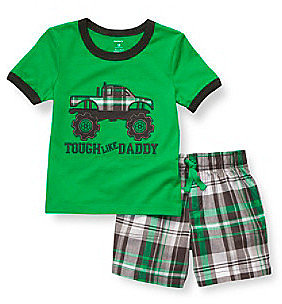 "Carter's® Boys' 2T-4T Green 2-pc. ""Tough Like Daddy"" Shortset"