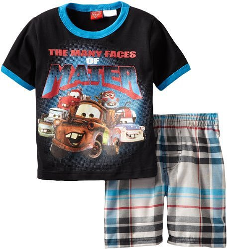 Disney Boys 2-7 Toddler Cars 2 Piece Knit and Woven Short Set