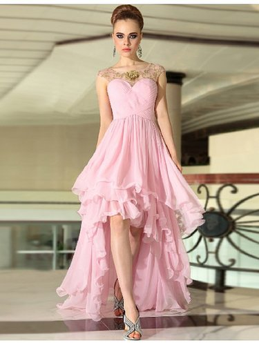 Pink Sleeveless Ruffles Chiffon Flower Bridesmaid Quinceanera Dress BD6062