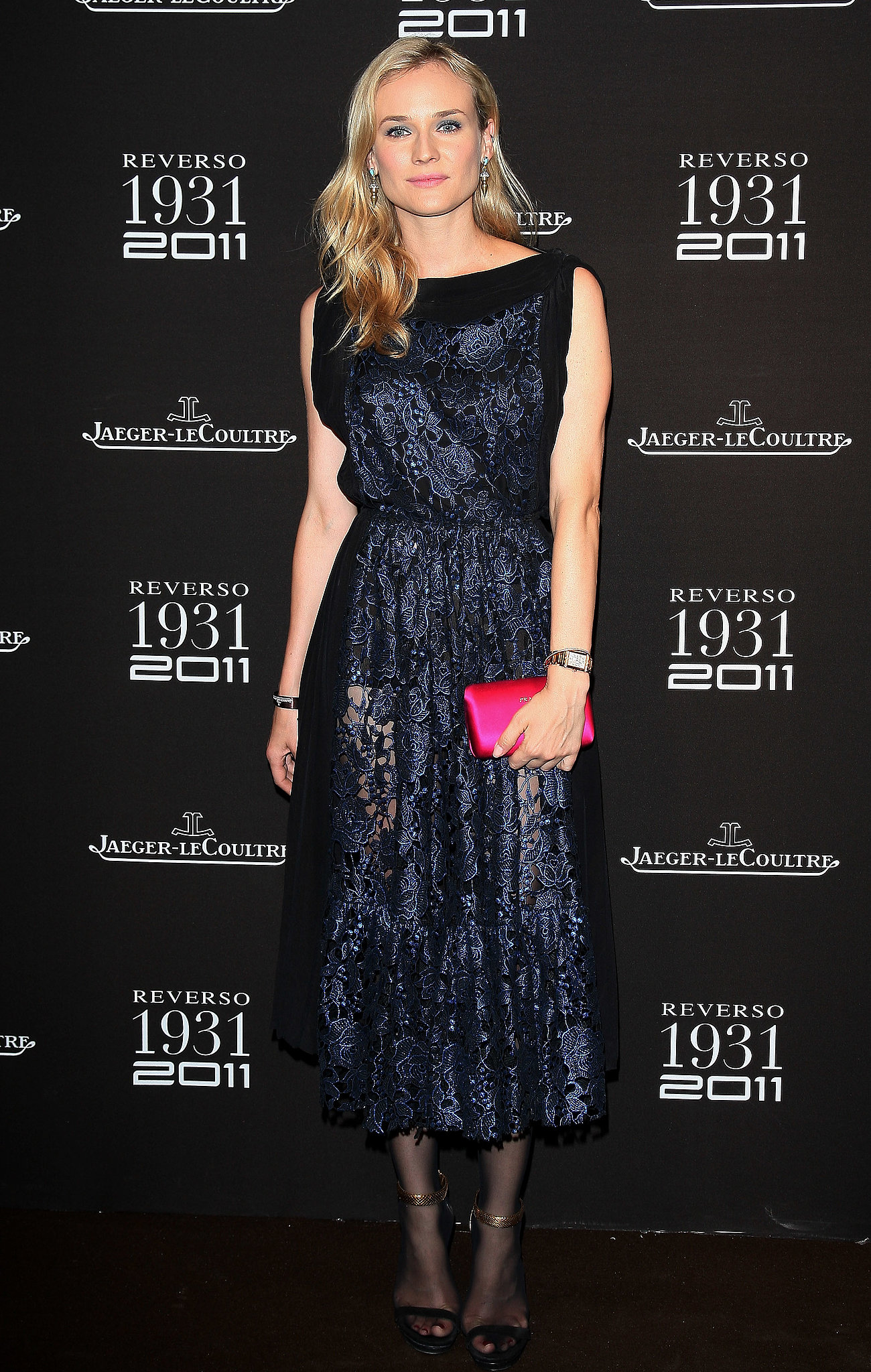 She donned ladylike Vionnet in lacy, metallic blue for Les Beaux-Arts anniversary celebration in Paris in 2011.