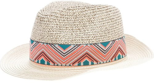 Maison Scotch patterned panama hat