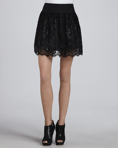 MILLY Margaret Black Lace Skirt