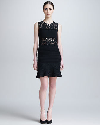 Roberto Cavalli Lace-Panel Dress with Flounce