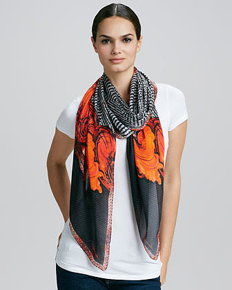 Roberto Cavalli Tilda Tiled Print Silk Scarf, Black/Orange/White