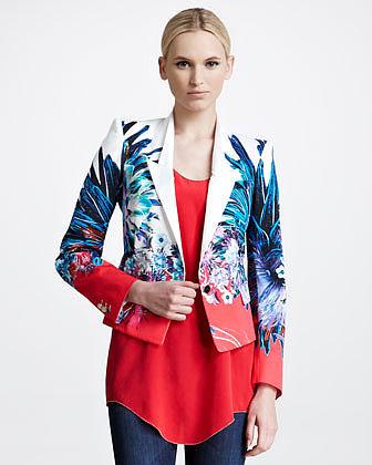 Roberto Cavalli Printed Twill Jacket, Amber/White