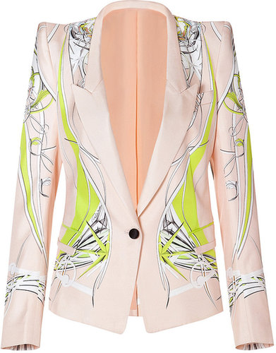 Roberto Cavalli One Button Silk Blazer in Yellow/Pink-Multi