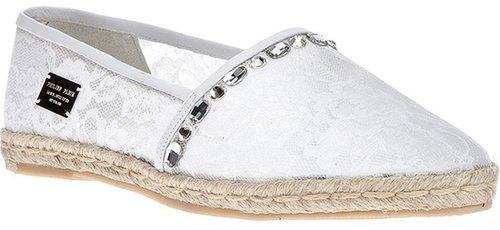 Philipp Plein embellished lace espadrille