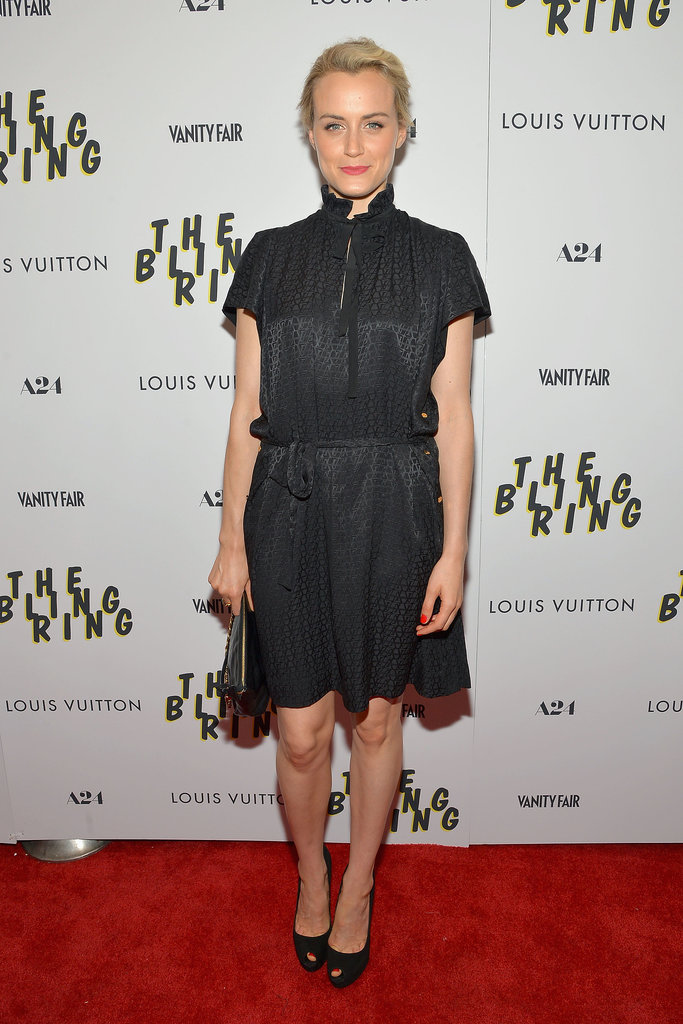 Taylor outfitted a ladylike black dress with platform heels at the NYC screening of The Bling Ring.