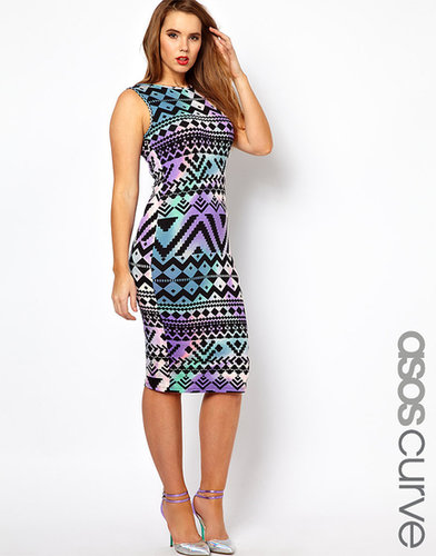 ASOS CURVE Body-Conscious Dress In Aztec Print