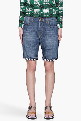 MARNI EDITION Indigo contrasting-lined Denim Shorts