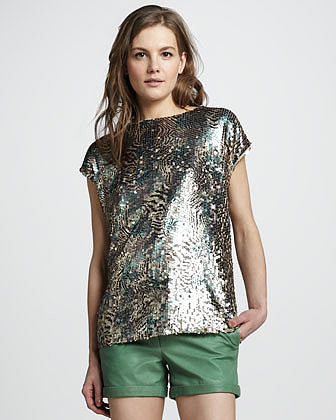 Rachel Zoe Ashlynn Printed Sequin Top