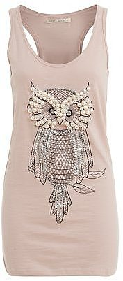 Brave Soul Pink Beaded Owl Vest