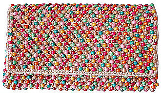 Straw Studios Beaded Flap Clutch