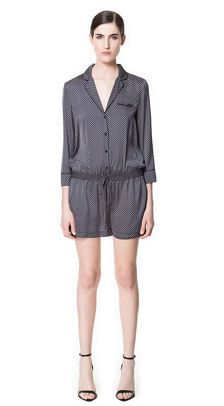 This Zara printed romper ($30, originally $60) is totally in line with the silk pajama trend — and it's majorly on sale.