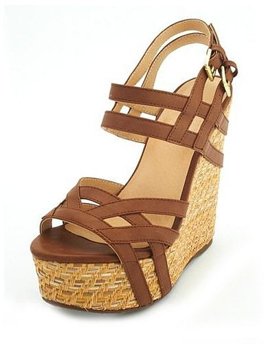 Woven Double Buckle Wedge Sandal