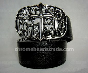 Chrome Hearts Belt Silver Multi Cross Black Leather