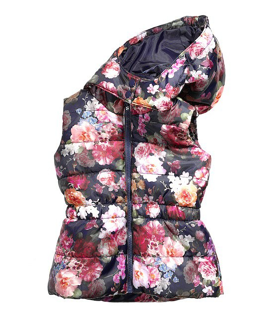 A screen-print floral pattern puts an entirely new spin on the puffy vest, and we can't get enough of the hood!