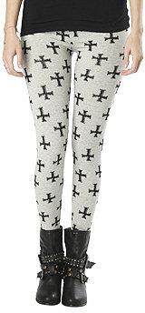 WetSeal Gothic Cross Print Legging Heather Gray
